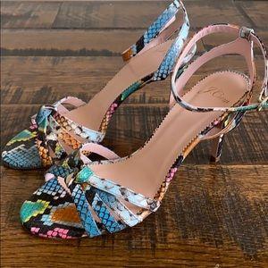 J.Crew Riley sandal heels rainbow snake l5230